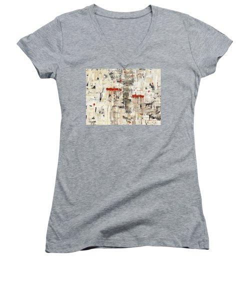 Women's V-Neck T-Shirt (Junior Cut) featuring the painting Un Pour Tous by Carmen Guedez