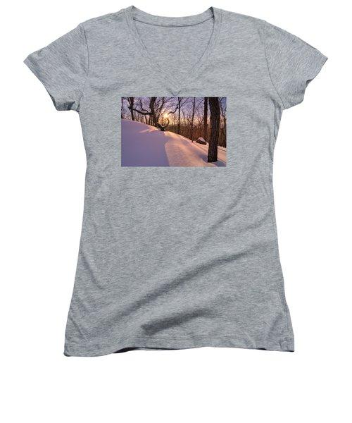Unbroken Trail Women's V-Neck T-Shirt (Junior Cut) by Craig Szymanski