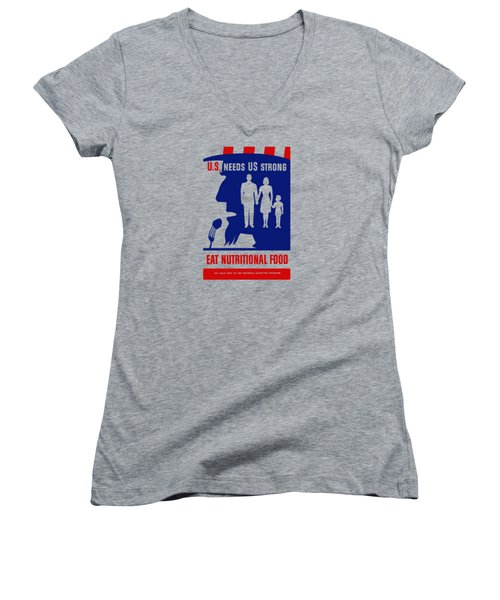 Women's V-Neck T-Shirt (Junior Cut) featuring the mixed media Uncle Sam - Eat Nutritional Food by War Is Hell Store