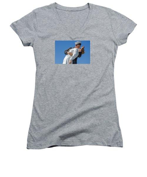 Unconditional Surrender 2 Women's V-Neck T-Shirt (Junior Cut) by Susan  McMenamin