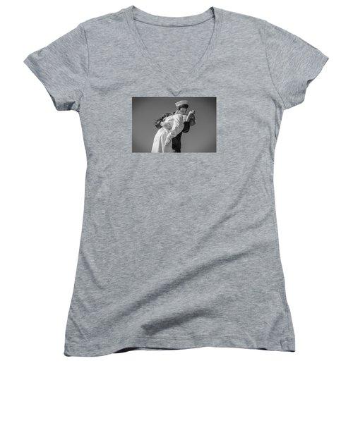 Unconditional Surrender 3 Women's V-Neck T-Shirt (Junior Cut) by Susan  McMenamin