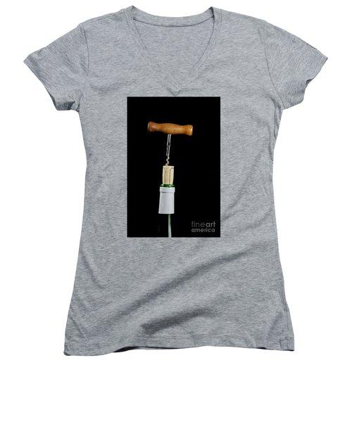 Women's V-Neck T-Shirt featuring the photograph Uncorking  by Kennerth and Birgitta Kullman