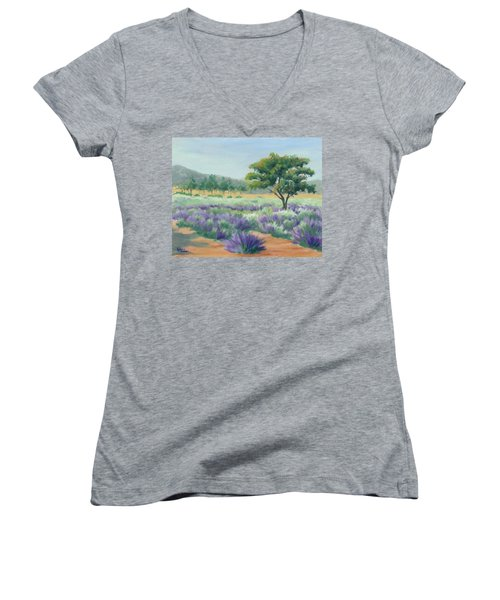 Women's V-Neck T-Shirt (Junior Cut) featuring the painting Under Blue Skies In Lavender Fields by Sandy Fisher
