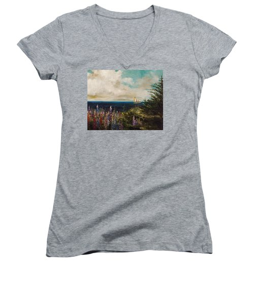 Women's V-Neck T-Shirt (Junior Cut) featuring the painting Under Full Sail by John Williams