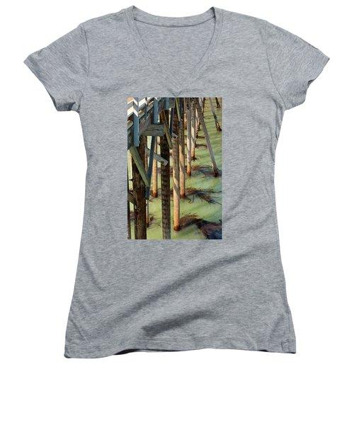 Women's V-Neck T-Shirt (Junior Cut) featuring the photograph Under San Simeon Pier by Art Block Collections