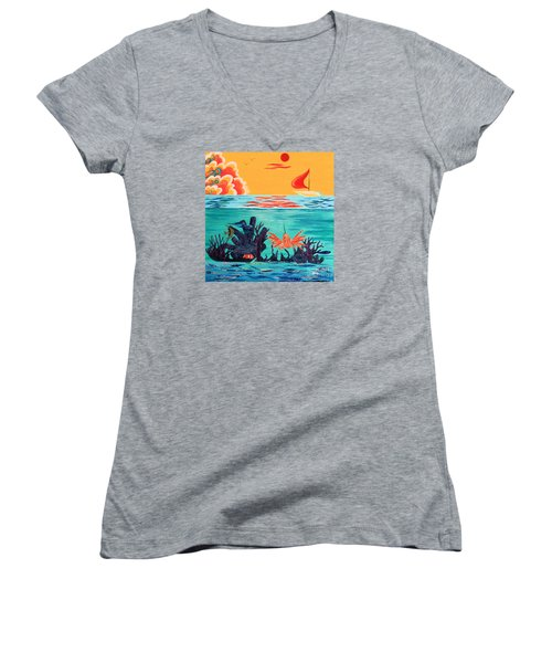 Bright Coral Reef Women's V-Neck