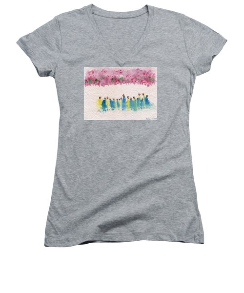 Under The Canopy Of Cherry Blossoms Women's V-Neck