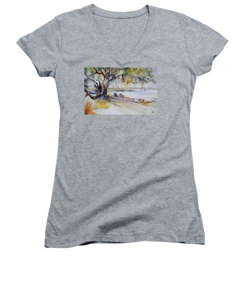 Under The Live Oak Women's V-Neck T-Shirt (Junior Cut) by P Anthony Visco
