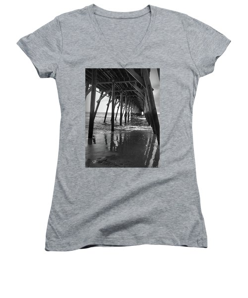 Under The Pier At Myrtle Beach Women's V-Neck T-Shirt (Junior Cut) by Kelly Hazel
