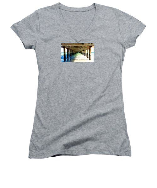 Women's V-Neck T-Shirt (Junior Cut) featuring the photograph Anna Maria Island Pier Excellence In Photography Award 2016 by Margie Amberge