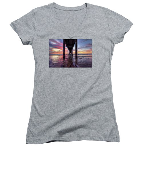 Under The Pier Sunset Women's V-Neck