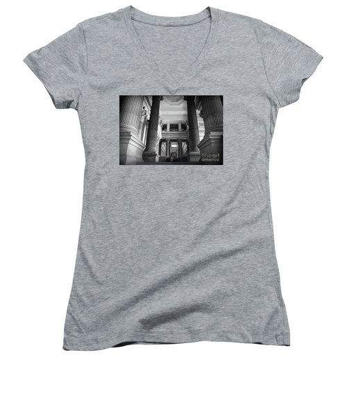 Women's V-Neck T-Shirt (Junior Cut) featuring the photograph Under The Scaffolding Of The Palace Of Justice - Brussels by RicardMN Photography