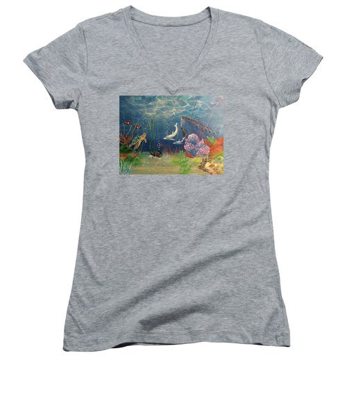 Under The Sea Women's V-Neck T-Shirt (Junior Cut) by Denise Tomasura