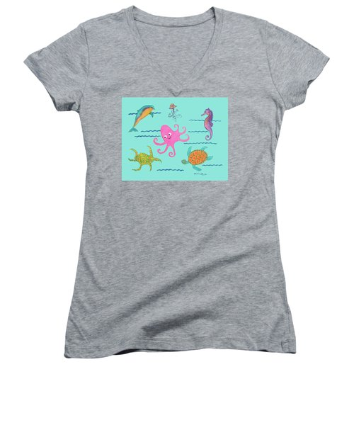 Under The Sea, Pink Octopus Women's V-Neck (Athletic Fit)