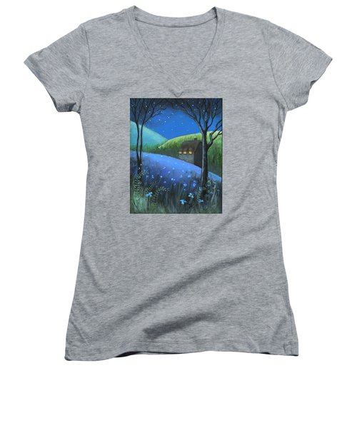 Women's V-Neck T-Shirt (Junior Cut) featuring the painting Under The Stars by Terry Webb Harshman