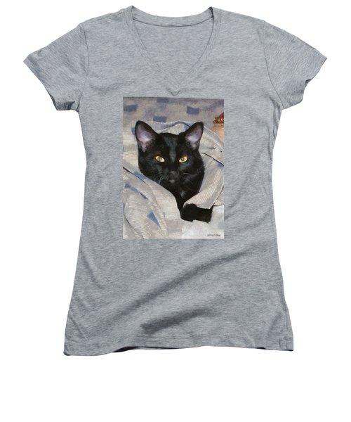 Undercover Kitten Women's V-Neck T-Shirt (Junior Cut) by Jeff Kolker