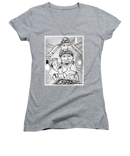 Underground Mine Workers In South Africa Women's V-Neck T-Shirt