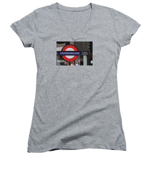 Underground Sign London Women's V-Neck (Athletic Fit)