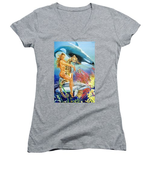 Undersea Fantasy Women's V-Neck (Athletic Fit)