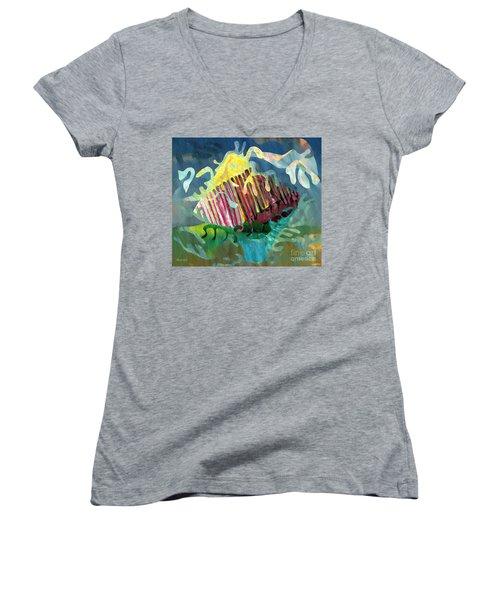 Undersea Still Life Women's V-Neck T-Shirt (Junior Cut) by Sarah Loft