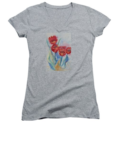 Undersea Tulips Women's V-Neck (Athletic Fit)