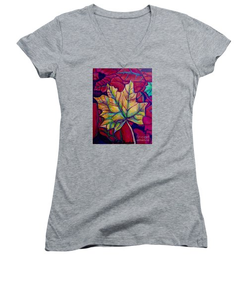 Understudy Of A Turning Maple Leaf In The Fall Women's V-Neck T-Shirt (Junior Cut) by Kimberlee Baxter