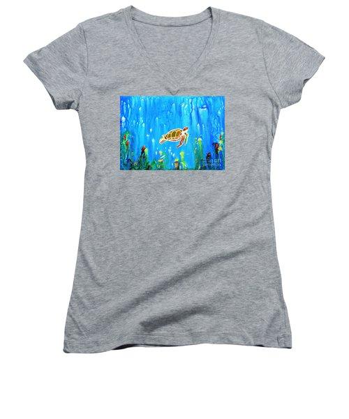 Underwater Magic 5-happy Turtle Women's V-Neck T-Shirt (Junior Cut)