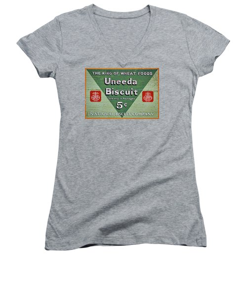 Uneeda Biscuit Vintage Sign Women's V-Neck
