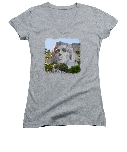 Unfinished Lincoln 3 Women's V-Neck T-Shirt (Junior Cut) by John M Bailey