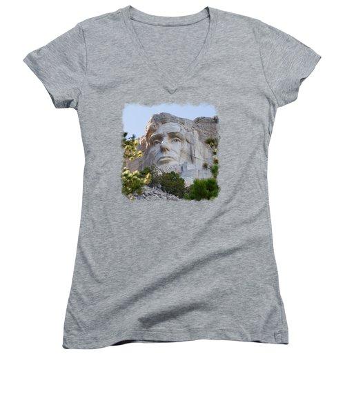 Unfinished Lincoln 3 Women's V-Neck T-Shirt