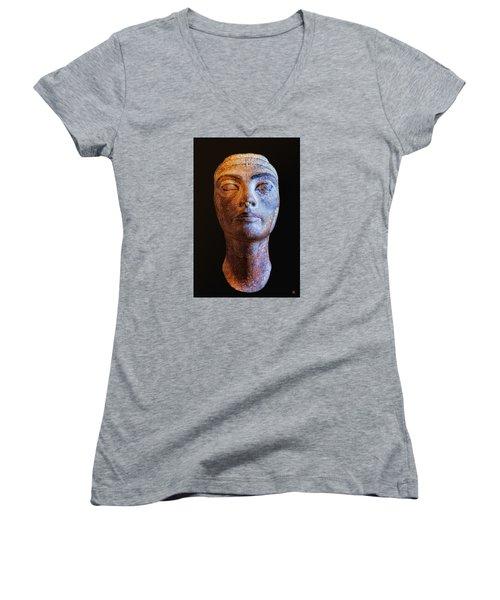 Unfinished Nefertiti Women's V-Neck T-Shirt (Junior Cut) by Nigel Fletcher-Jones