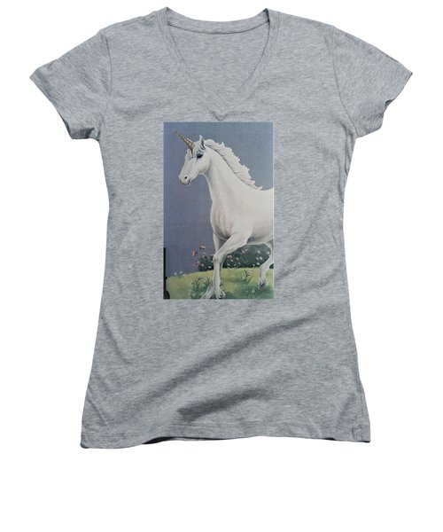 Unicorn Roaming The Grass And Flowers Women's V-Neck (Athletic Fit)