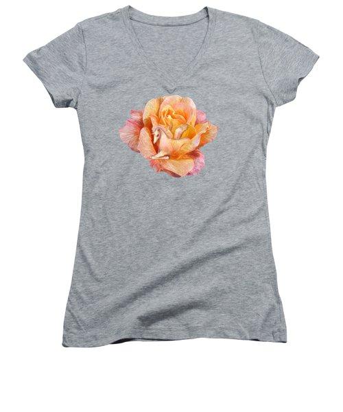 Women's V-Neck T-Shirt (Junior Cut) featuring the mixed media Unicorn Rose by Carol Cavalaris
