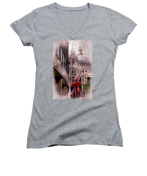 Union Jack By St. Paul's Cathdedral Women's V-Neck T-Shirt (Junior Cut) by Karen McKenzie McAdoo