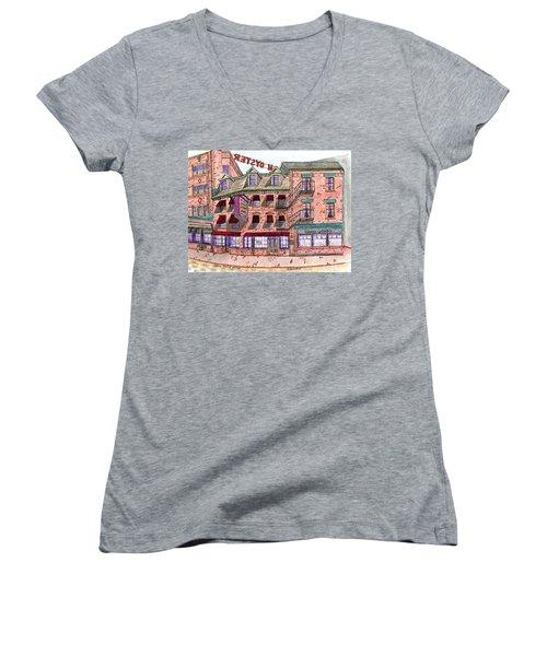 Union Osyter House Boston Women's V-Neck T-Shirt (Junior Cut) by Paul Meinerth