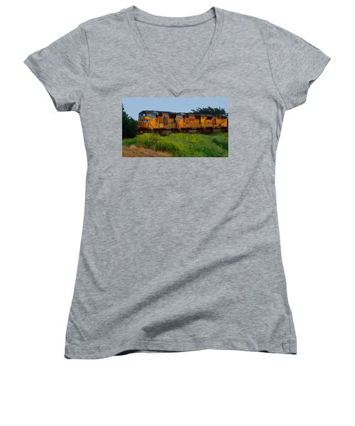 Women's V-Neck featuring the digital art Union Pacific Line by Shelli Fitzpatrick