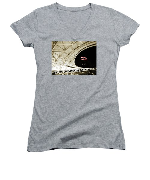 Women's V-Neck T-Shirt (Junior Cut) featuring the photograph Union Station Denver by Marilyn Hunt