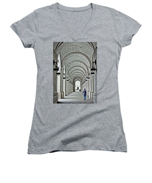 Women's V-Neck T-Shirt (Junior Cut) featuring the photograph Union Station Exterior Archway by Suzanne Stout