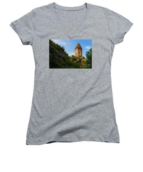 Unique Kirants Monastery On A Sunny Day, Armenia Women's V-Neck T-Shirt (Junior Cut) by Gurgen Bakhshetsyan