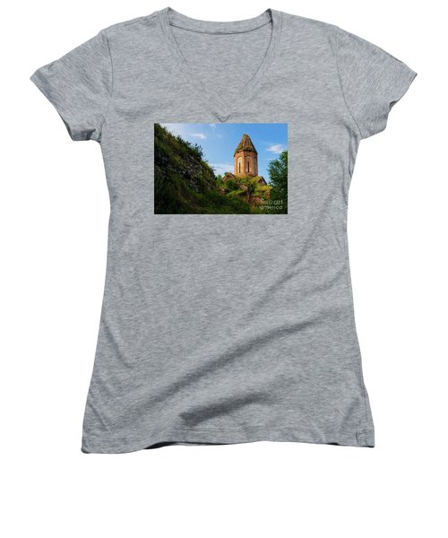 Unique Kirants Monastery On A Sunny Day, Armenia Women's V-Neck (Athletic Fit)