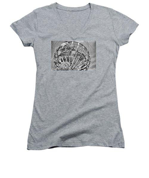 Unisphere In Black And White Women's V-Neck