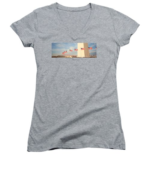 United States Flags At The Base Women's V-Neck T-Shirt (Junior Cut) by Panoramic Images
