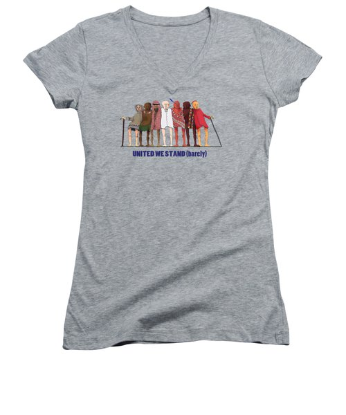 United We Stand Transparent Background Women's V-Neck T-Shirt (Junior Cut) by R  Allen Swezey