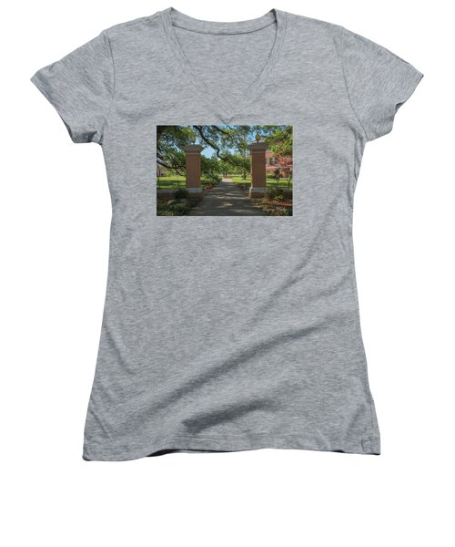 University And Johnston Entrance Women's V-Neck T-Shirt