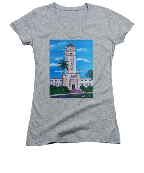 University Of Puerto Rico Tower Women's V-Neck T-Shirt (Junior Cut) by Luis F Rodriguez