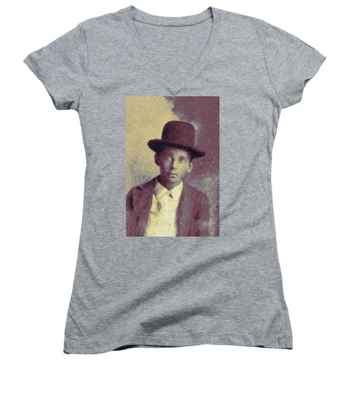 Unknown Boy In A Bowler Hat Women's V-Neck T-Shirt (Junior Cut) by Matt Lindley