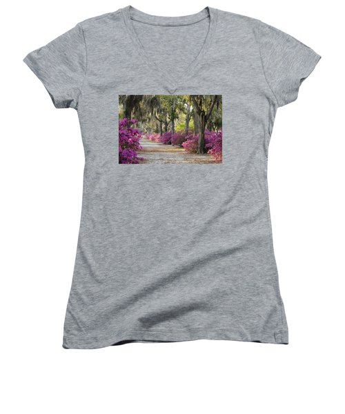 Unpaved Road With Azaleas And Oaks Women's V-Neck