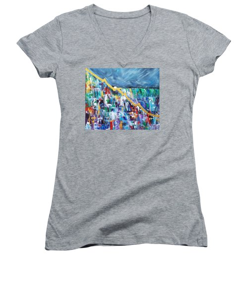 Women's V-Neck T-Shirt featuring the painting Untitled by Judith Rhue