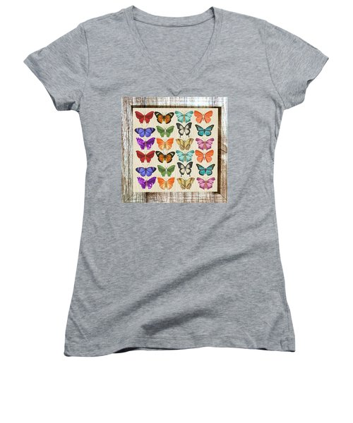 Colourful Butterflies Collage Women's V-Neck