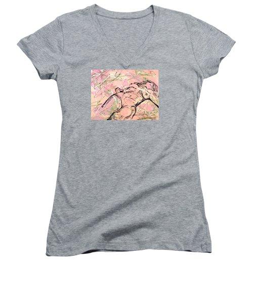 Unwinding Woman  Women's V-Neck T-Shirt